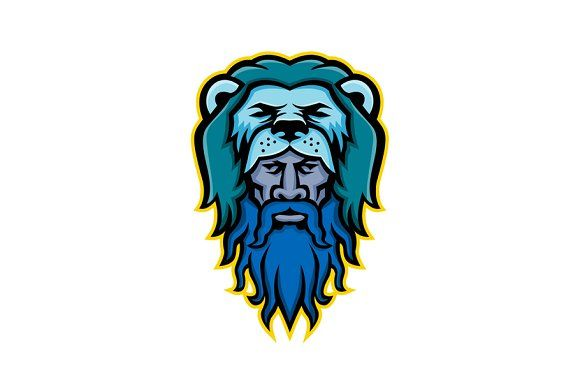 Hercules Wearing Lion Skin Mascot Hercules Mythology Retro Illustration Hercules