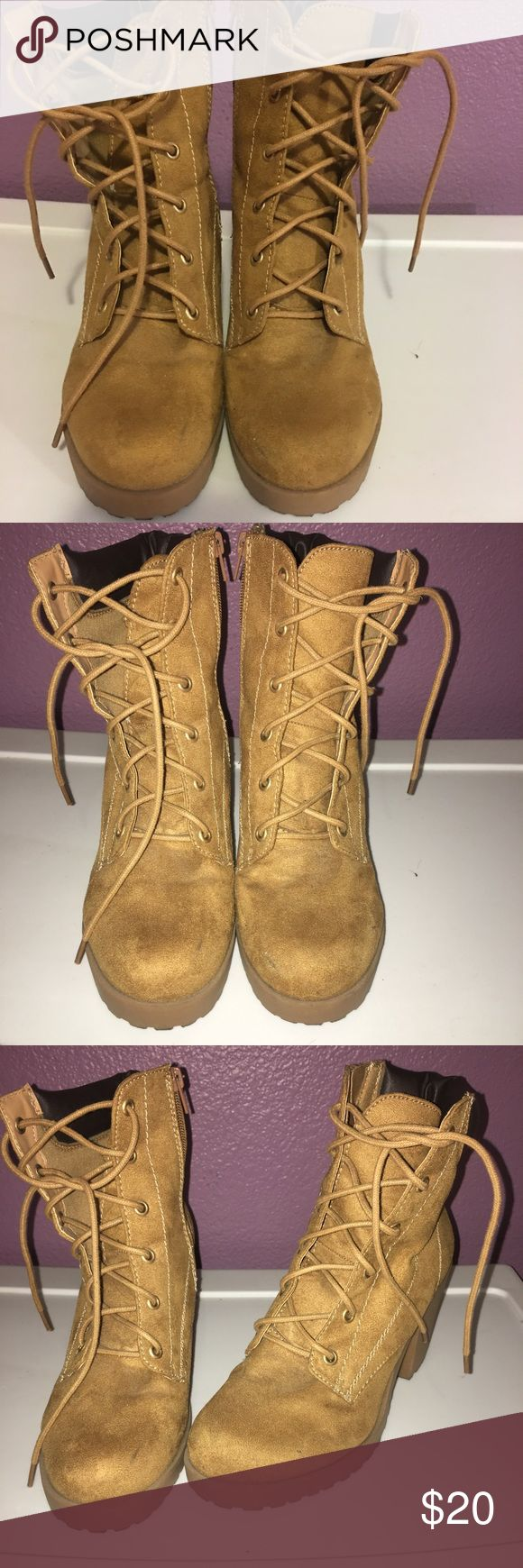Tan booties Tan booties. Good condition. Shoes Heeled Boots