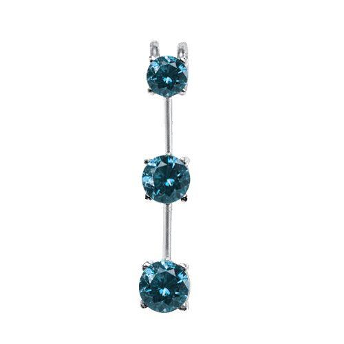 3 Stein Diamantanhänger 0.25 Karat/Blau - 585er Gold