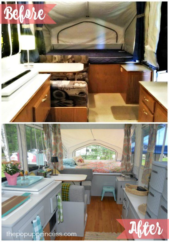 She did grey cabinets and replaced the T-molding and had the same camper layout as ours
