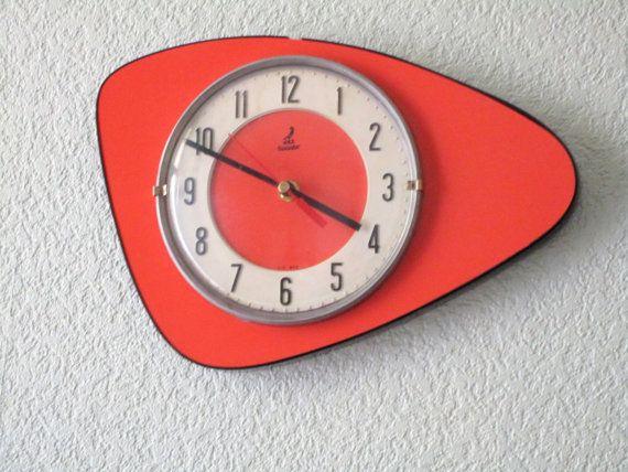 1950-60er Jahre Atomzeitalter JAZ leuchtend rote von Decofanatique