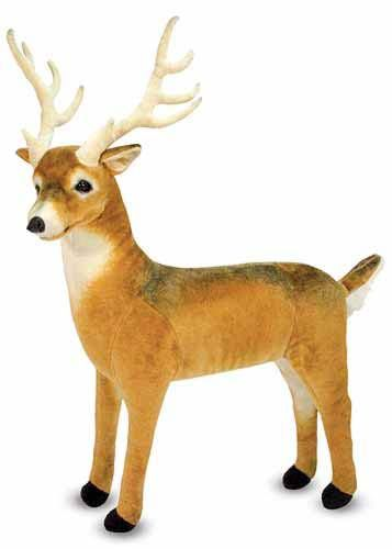 Deer Giant Stuffed Animal : Doe, a deer...Bring a bit of wildlife into your childs room with this beloved forest friend.  Excellent quality construction and attention to detail, from the top of its antlers to the tip of its white tail, make this gentle deer a wonderful new companion or decorative accent.
