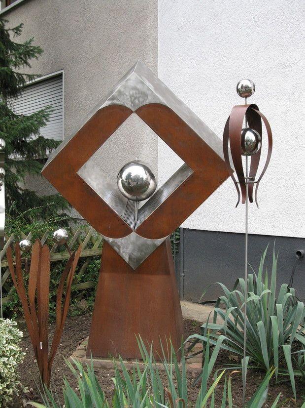 Brunnen aus stahl und edelstahl mit beleuchtung for Gartendeko aus rostigem stahl
