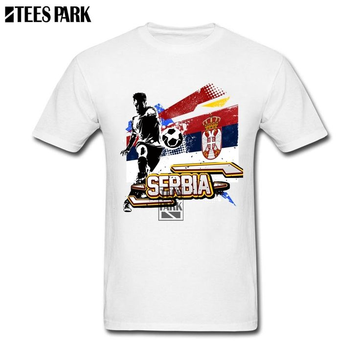 Serbia Flag T-Shirt Serbia Footballer Boyfriend Gift Cotton Soccers T Shirts Men's Slim Fit Short Sleeve Tee