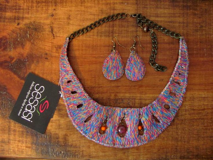 """Papel Picado"" Rainbow collar. Handmade embroidery."