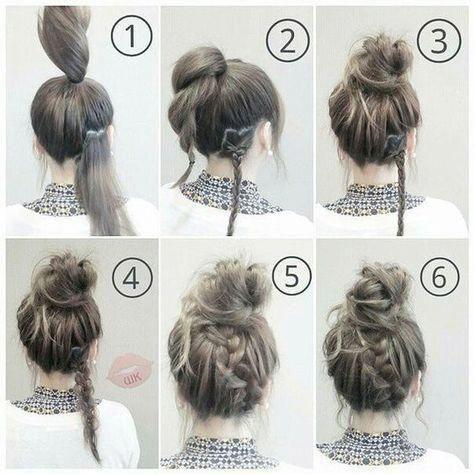 How to do a messy bun step by step lazy girl easy hair 17+ Ideas #easyupdosformediumhair