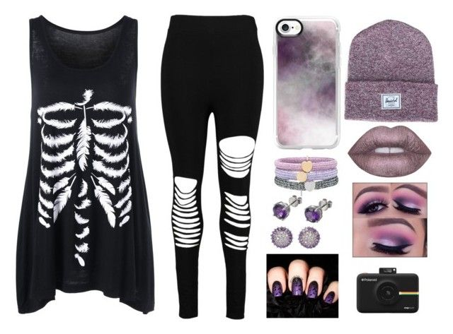"""Evie"" by taylor-008 on Polyvore featuring Boohoo, Casetify, Marc Jacobs, Herschel Supply Co., EWA, Lime Crime and Polaroid"