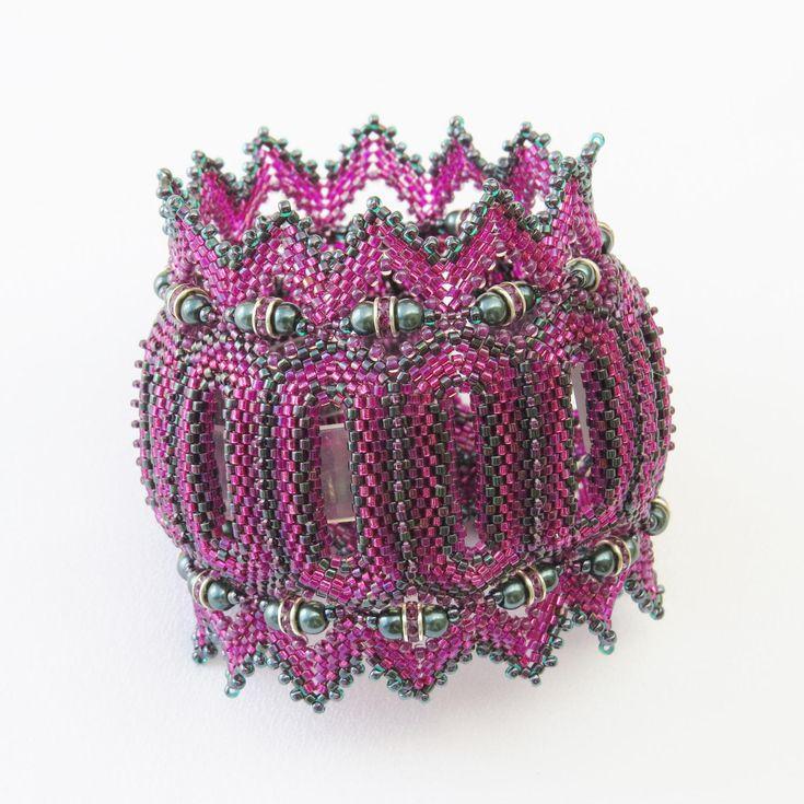 Tranquility Cuff bracelet peyote beaded cuff bracelet with