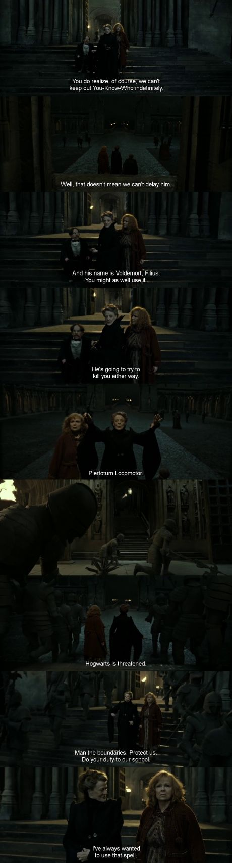 """I read Sorcerer's Stone recently, and I remember Minerva cringing every time Albus said """"Voldemort"""". He kept telling her it's just a name, and not to be bothered by it. I love that she's finally accepted that fact. And that she's now the one telling others what Albus told her. Thus, filling that little role he once held."""