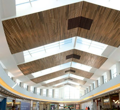 Acoustic suspended ceiling / in wood LINEAR: CLOSED Hunter Douglas