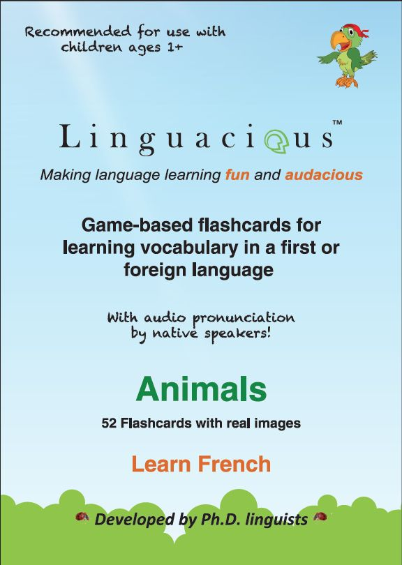 Fun, interactive flashcards for French language learners from Lingualicious - Animal Flashcards - French (52 cards) / free shipping