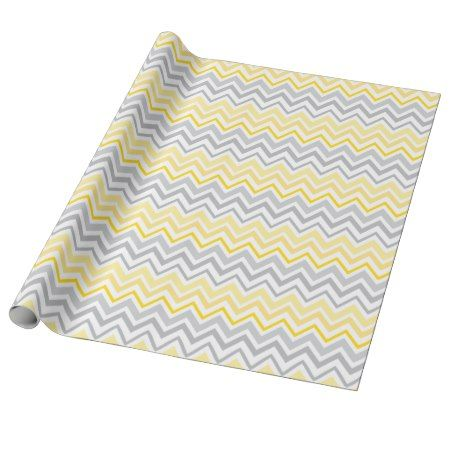 Pretty Yellow and Gray Chevron Wrapping Paper - tap, personalize, buy right now! #pattern #patterns #illustrations #illustration #giftwrap #giftwrapping