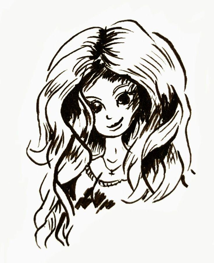 Inkt tekening met penseel. Portret van een jonge vrouw met een volle bos haar.
