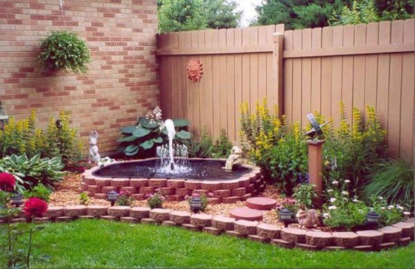 corner gardenGardens Ideas, Water Fountain, Water Gardens, Water Features, Gardens Fountain, Outdoor Fountain, Outdoor Gardens, Small Gardens, Yards Ideas