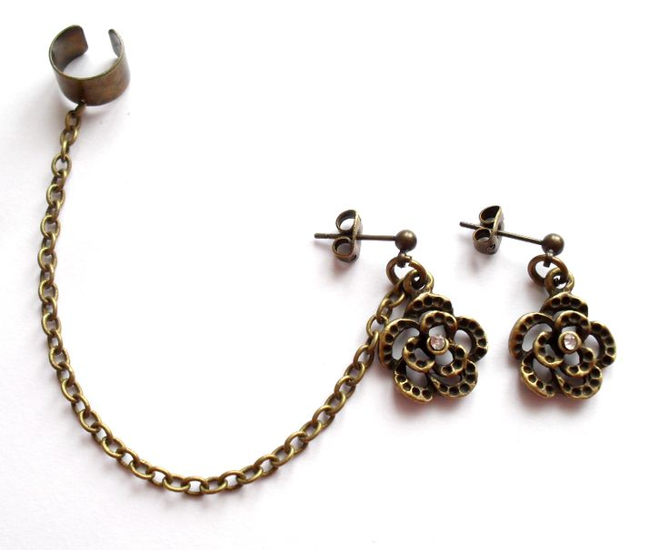 Ear cuff set med blomma http://ladyofthelake.se