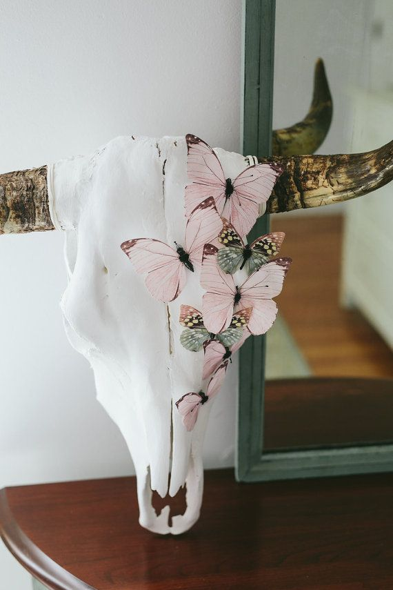 Pink Butterfly Cow Skull by RoseAndRoyce on Etsy