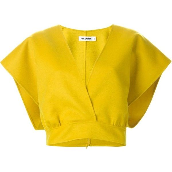 Jil Sander Cropped Wrap Top ($496) ❤ liked on Polyvore featuring tops, crop tops, shirts, yellow top, crop shirt, jil sander top, yellow crop top and yellow shirt