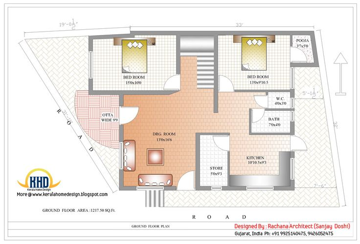 India house plan - Ground floor plan - 2435 Sq.Ft.