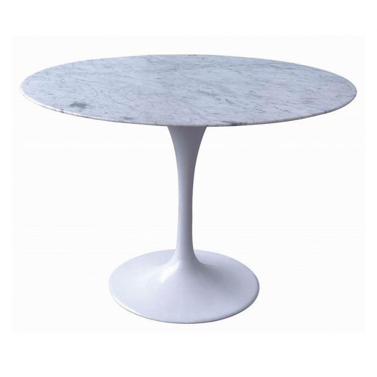 Tulip dining table 120cm eero saarinen replica marble top aluminium