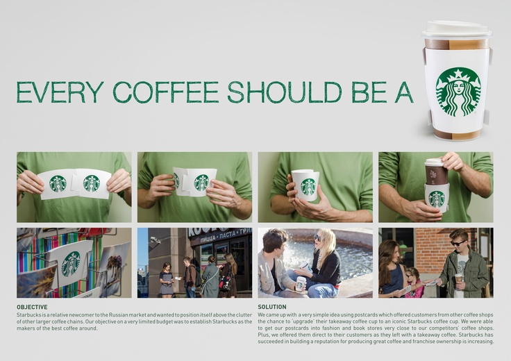 Starbucks Coffee cup sleeves, Guerilla marketing, Starbucks