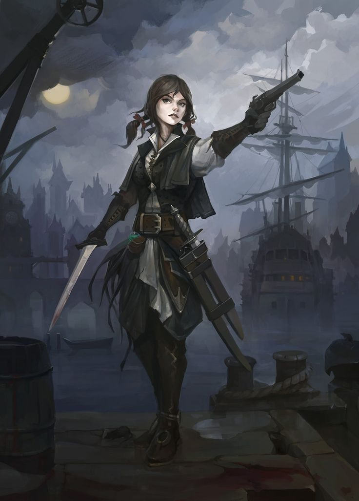Hazardous docks by haryarti female pirate rogue thief armor clothes clothing fashion player character npc | Create your own roleplaying game material w/ RPG Bard: www.rpgbard.com | Writing inspiration for Dungeons and Dragons DND D&D Pathfinder PFRPG Warhammer 40k Star Wars Shadowrun Call of Cthulhu Lord of the Rings LoTR + d20 fantasy science fiction scifi horror design | Not Trusty Sword art: click artwork for source