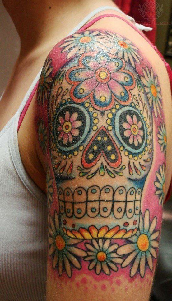 If only I was brave enough.... flower half sleeve tattoos | Sugar Skull Tattoos Pictures and Images : Page 12
