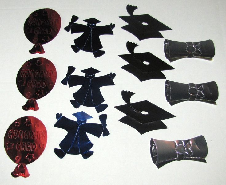 Graduation Assortment Foil Decor 12/pk #050012 – mortarboard, diploma, graduate & balloon