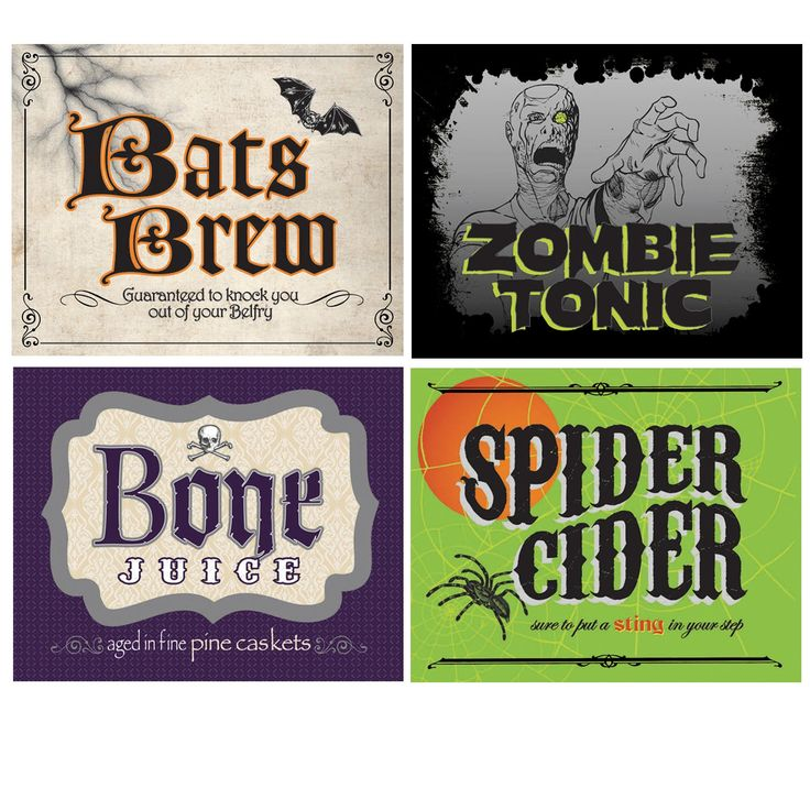 halloween labels for drinks