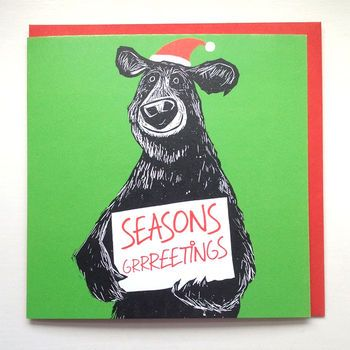 Seasons Grrreetings Christmas Cards by CARDINKY. A pack of 6 illustrated Bear Christmas cards. Printed in UK and eco-friendly [Size: 15cm square greeting card.].