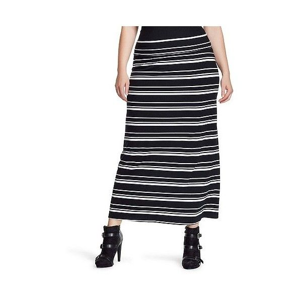 s plus size knit maxi skirt black and white stripe