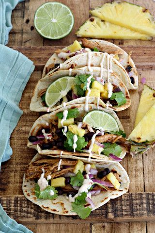 ... Pork Tacos with pineapple cilantro slaw and sweet spicy drizzle