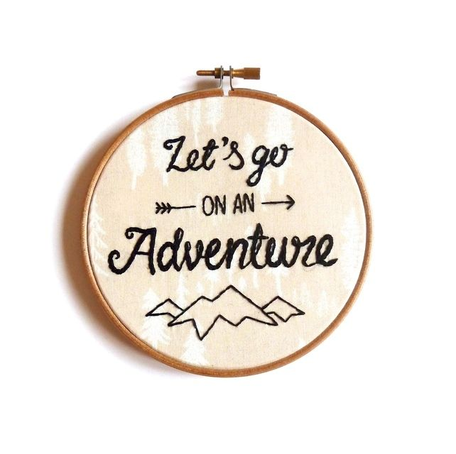 Let's go on an adventure embroidery hoop art Modern embroidery framed quote gift £18.50