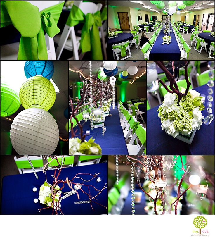Blue Table Cloths With Green Back Sashes
