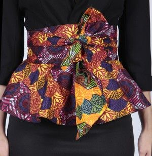 http://market.myasho.com/print-peplum-belt-999.html Reversible belt Figure flattering peplum style Wraps round - can be tied in bow or knot at front or back Tropical Rhythm print on one side Berry Beat print on the other Fabric: 100% African cotton print. Fabric made in Ghana Fabric Care: Machine wash cold with similar colours Sizes: S/M - up to 73 cm, M/L - up to 79 cm, L/XL - up to 86 cm