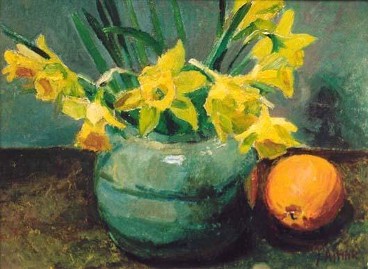 Jan Altink  Stilleven met narcissen in een pot en sinaasappels   Olie op schildersboard 28.5 x 37 cm, gesigneerd rechtsonder Gerelateerd
