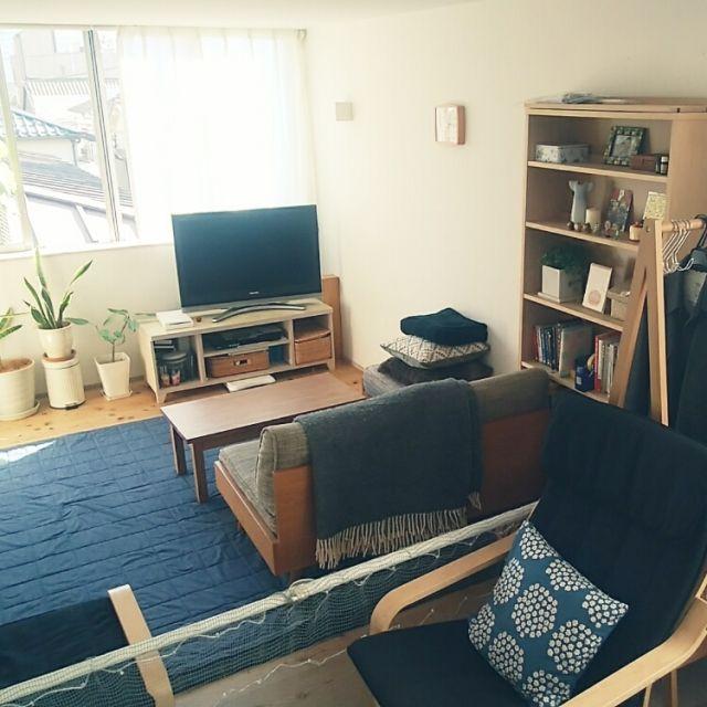 marotsukuneさんの、ブランケット,テレビ台,本棚,IKEA,観葉植物,unico,無印良品,マリメッコ,Lounge,のお部屋写真