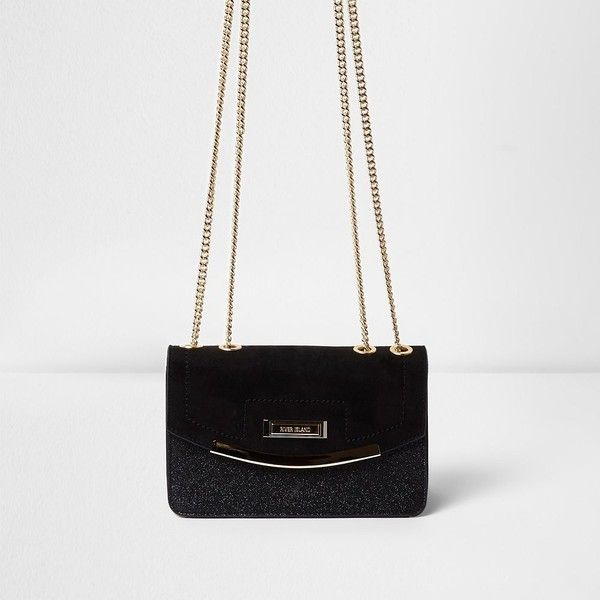 River Island Black glitter cross body bag ($44) ❤ liked on Polyvore featuring bags, handbags, shoulder bags, bags / purses, black, cross body bags, women, purse shoulder bag, chain strap purse and fold over crossbody purse