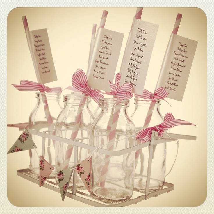 Vintage Milk Bottles and Party Straw Table Plan http://www.thehandcraftedcardcompany.co.uk/cardcrafts/8733-traditional-school-milk-bottles.asp