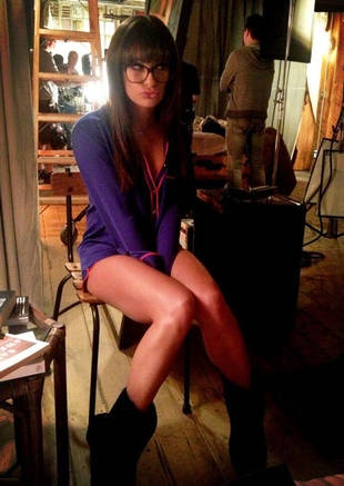 Lea Michele's Rachel In Skimpy PJs Filming Glee Season 4
