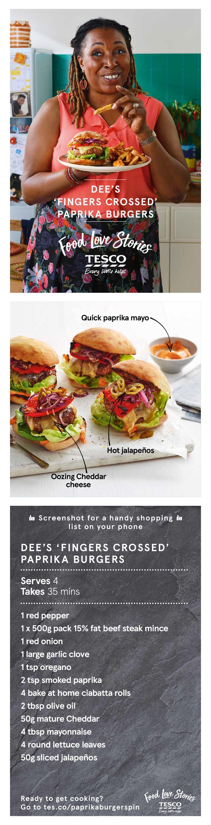 This homemade paprika burger recipe is full of smoky flavour, perfect as a real treat. Serve in ciabatta rolls with crunchy salad and charred peppers, or pop them on the barbecue for a summer burger recipe with a twist.   Tesco
