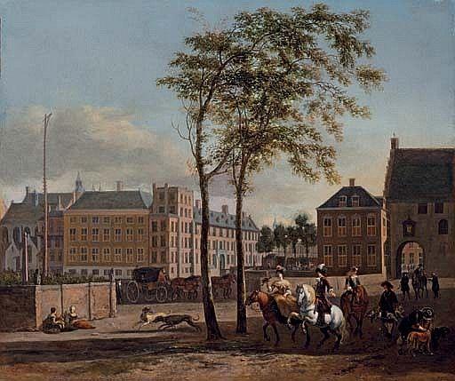 Gezicht op de Gevangenpoort en het Buitenhof (ca. 1687) - Gerrit Adriaensz. Berckheyde (1639-1698).