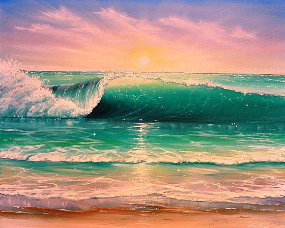 Marc Christian Kunze | COTW Surf Artist- I love how he painted the foam on the beach, the colors of the sea and sky. Takes me back to my days on the beach.