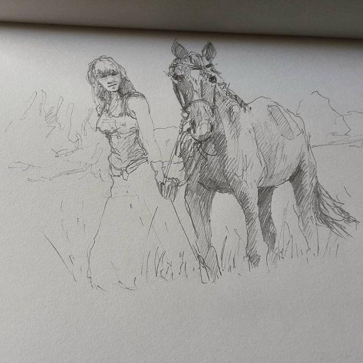 Девушка и лошадь.  #девушка #лошадь #drawing #illustration #portrait #sketch #pencil #sketchbook #art #artwork #painting #eskiz #портрет #рисунок #карандаш #набросок #эскиз