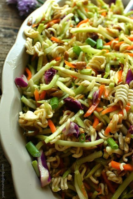 Ramen Broccoli Slaw perfect for picnics and cookouts. This is what I bring to any potluck I go to and it is always a hit.