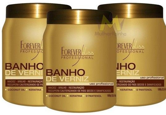 Banho de Verniz Varnish Hair Forever Liss 1000g Keratin TreatmentForever Liss Moisturizing  Banho de Verniz is designed for all hair types, the mas uses natural ingredients and provides brightest to the hair, was developes with last generation rich in D panthenol and phytoqueratina and Coconut Oil Technology.
