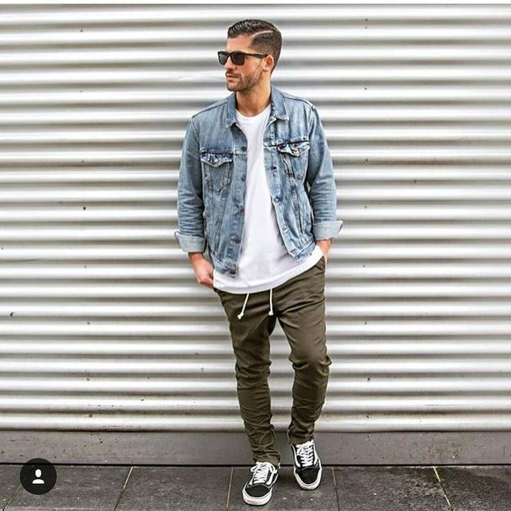 Love the jean jacket and olive chinos. Follow @mensfashionairy  Photo credit  @kosta_williams