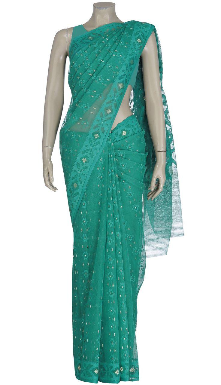 Green Half Silk Jamdani Saree