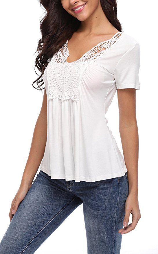 342d5e2ea62b3b Miss Moly Damen Tiefer V-Ausschnitt Kurzarm Oberteil Tops Sexy Tunika T- Shirt