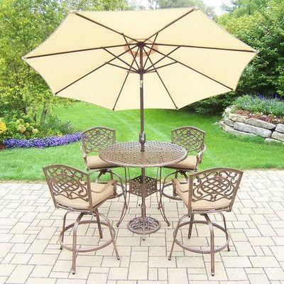 Oakland Living Mississippi 5 Piece Bar Set with Cushions Umbrella Color: Beige, Cushion Color: Sunbrella Spunpoly
