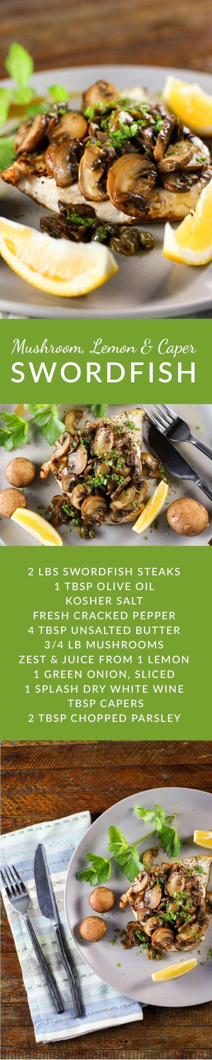 Delicious, fast and easy, this easy swordfish recipe is suitable for company or a quick weeknight meal.